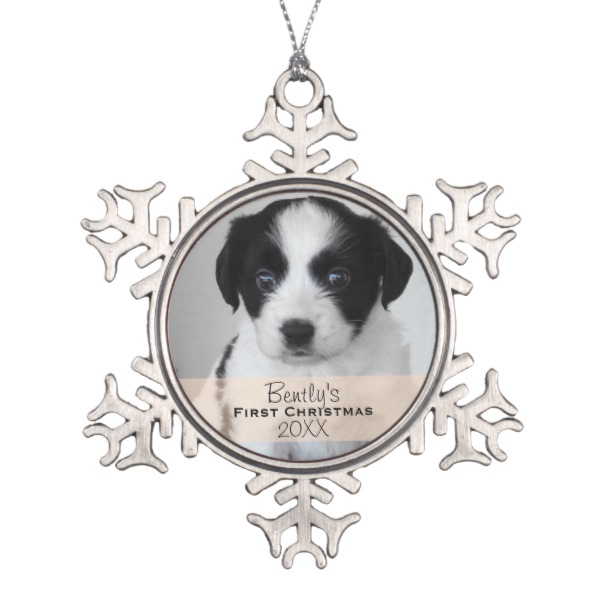 Dogs First Christmas Ornament.Puppy S Snowflake Pewter Ornament Custom Photo Gifts